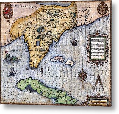 1591, Exploration Era Map Of Florida Metal Print by Everett