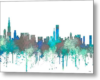 Metal Print featuring the digital art Chicago Illinois Skyline by Marlene Watson