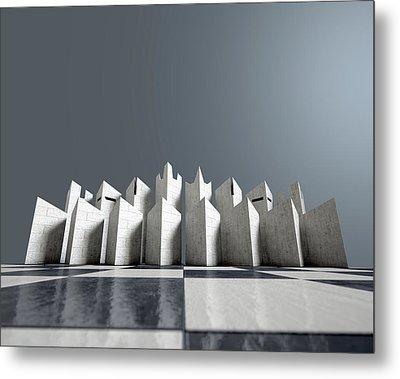 Modern Chess Set  Metal Print