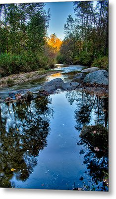 Stone Mountain North Carolina Scenery During Autumn Season Metal Print