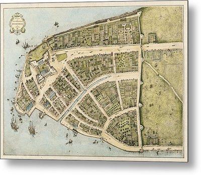 1660 New Amsterdam Map Metal Print