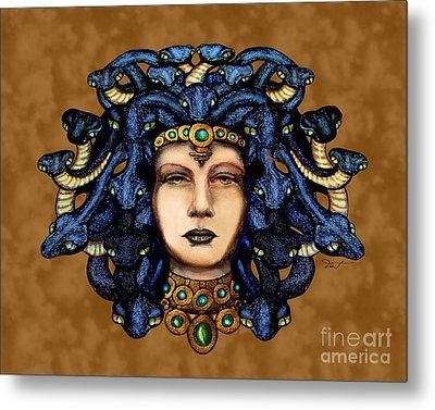 16x20 Medusa 2 Blu Gold Metal Print by Dia T
