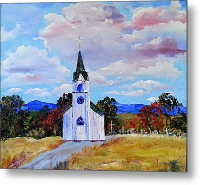 #17 St. Johns Historic Church On Hwy 69 Metal Print