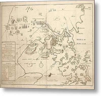 1700s City Planning Map Boston Ma Sepia Metal Print