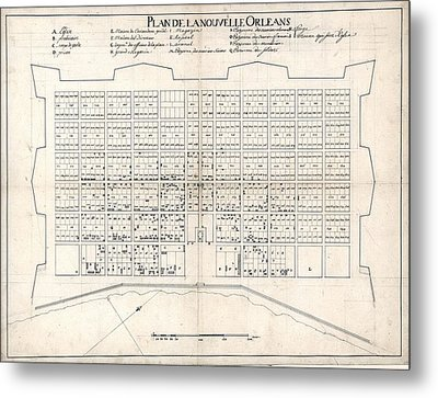 1722 Plan Of New Orleans, The Area That Metal Print by Everett