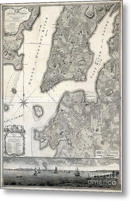 1766 Map Of New York City Metal Print