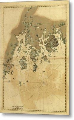 1776 Maine Coast Map Metal Print