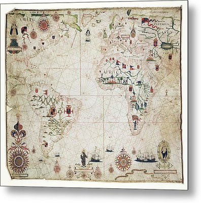 17th Century Nautical Map Of The Atlantic Metal Print by Library Of Congress