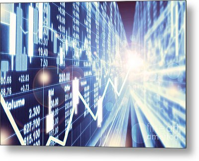 Metal Print featuring the photograph Stock Market Concept by Setsiri Silapasuwanchai
