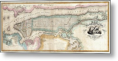 1852 New York City Map Metal Print