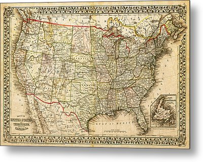 1860 Map Of The United States And Territories Together With Canada By S. Augustus Mitchell Jr. Metal Print
