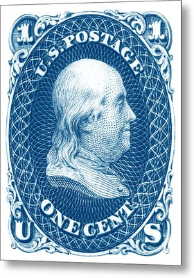 Metal Print featuring the painting 1861 Benjamin Franklin Stamp by Historic Image