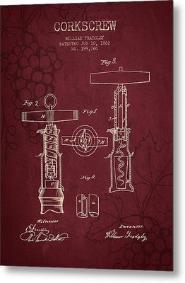 1862 Corkscrew Patent - Red Wine Metal Print by Aged Pixel