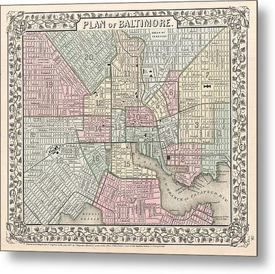 1867 Map Of Baltimore Maryland Metal Print by Celestial Images