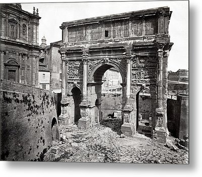 Metal Print featuring the photograph 1870 Arch Of Septimius Severus Rome Italy by Historic Image