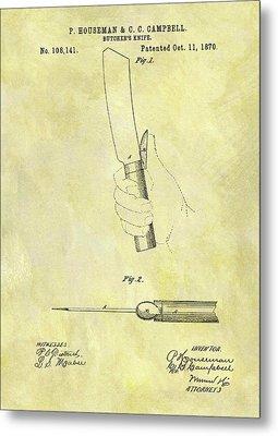 1870 Butcher Knife Patent Metal Print