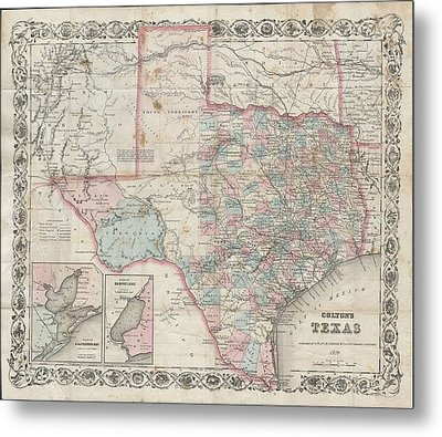1870 Colton Pocket Map Of Texas Metal Print