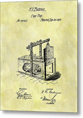 Metal Print featuring the mixed media 1870 Mousetrap Patent by Dan Sproul