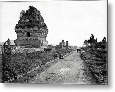 Metal Print featuring the photograph 1870 Visiting Roman Ruins Along The Appian Way by Historic Image