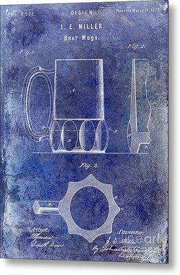 1873 Beer Mug Patent Blue Metal Print by Jon Neidert