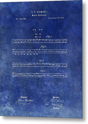 1873 Musical Notation Patent Metal Print by Dan Sproul