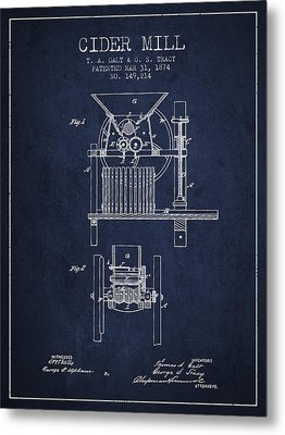 1874 Cider Mill Patent - Navy Blue Metal Print by Aged Pixel