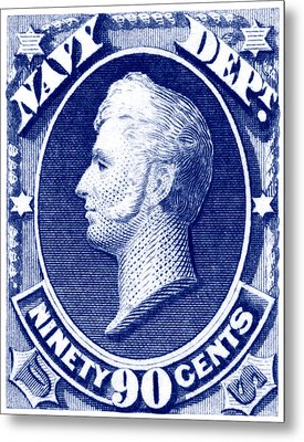 Metal Print featuring the painting 1875 Commodore Perry Us Navy Department Stamp by Historic Image