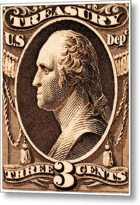 Metal Print featuring the painting 1875 George Washington Treasury Department Stamp by Historic Image