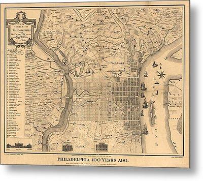 1875 Philadelphia Map Metal Print by Dan Sproul