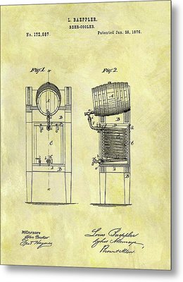 1876 Beer Cooler Patent Metal Print