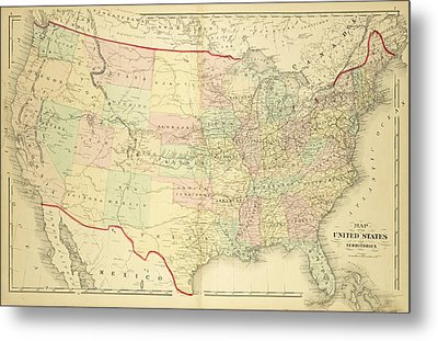 1876 Map Of The United States Color Metal Print
