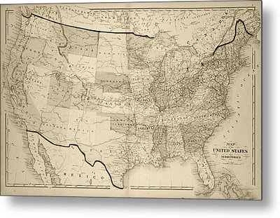 1876 Map Of The United States Sepia Metal Print