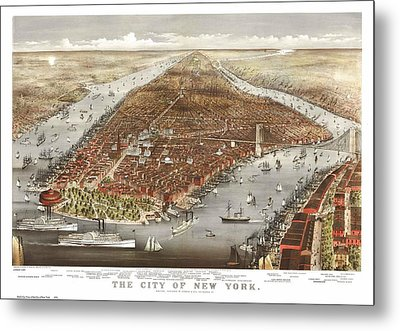 1876 New York City Map Metal Print