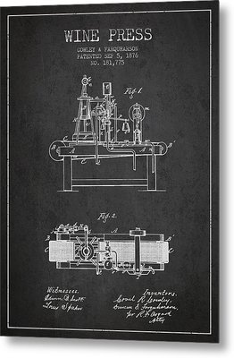 1876 Wine Press Patent - Charcoal Metal Print by Aged Pixel