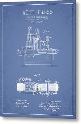 1876 Wine Press Patent - Light Blue Metal Print by Aged Pixel