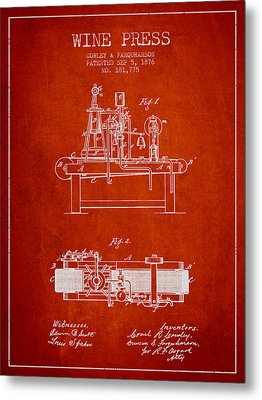 1876 Wine Press Patent - Red Metal Print by Aged Pixel