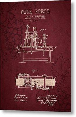 1876 Wine Press Patent - Red Wine Metal Print by Aged Pixel