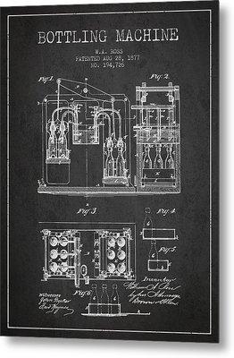 1877 Bottling Machine Patent - Charcoal Metal Print