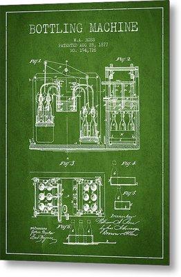 1877 Bottling Machine Patent - Green Metal Print