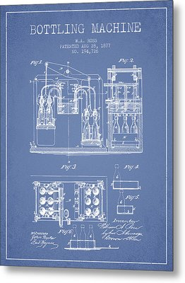 1877 Bottling Machine Patent - Light Blue Metal Print by Aged Pixel