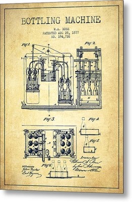 1877 Bottling Machine Patent - Vintage Metal Print by Aged Pixel
