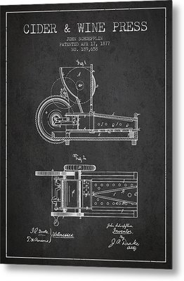 1877 Cider And Wine Press Patent - Charcoal Metal Print by Aged Pixel