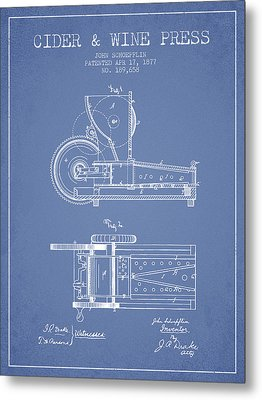 1877 Cider And Wine Press Patent - Light Blue Metal Print