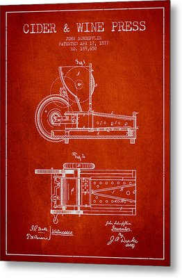 1877 Cider And Wine Press Patent - Red Metal Print by Aged Pixel