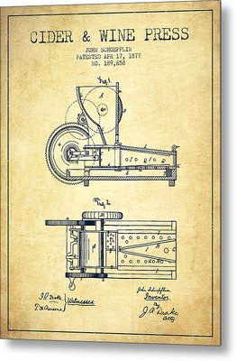 1877 Cider And Wine Press Patent - Vintage Metal Print