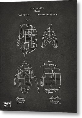 1878 Baseball Catchers Mask Patent - Gray Metal Print
