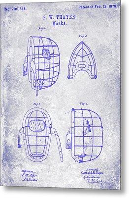 1878 Catchers Mask Patent Blueprint Metal Print