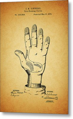 1878 Corn Husking Glove Patent Metal Print by Dan Sproul