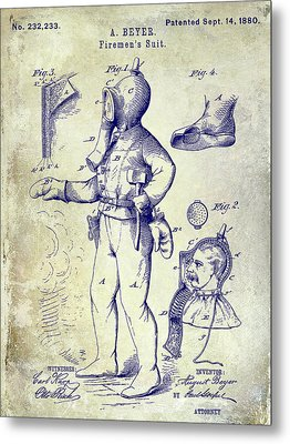 1880 Fireman Suite Patent Metal Print