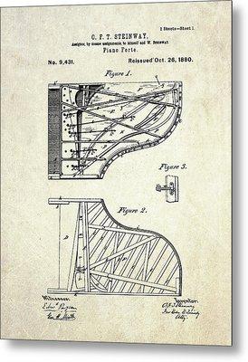 1880 Steinway Piano Forte Patent Art Sheet 1  Metal Print